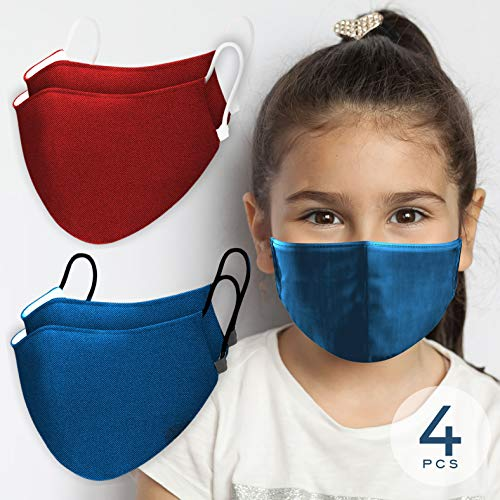 Kids Face Red (x2) & Blue (x2) 𝖬𝖺𝗌𝗄𝗌 Features Nano-Zinc Tech & 3D Designed to fit Most Face Sizes Strapped with Soft Comfy Ear Hoops Reusable 100x Times with Full Protection