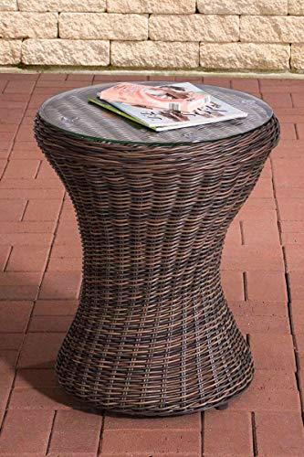 Mesa de Mimbre Sintético Sandino I Mesa Redonda de Poliratán I Mesa con Tablero de Cristal I Mesa Auxiliar Exterior I Color:, Color:marrón mezclillado
