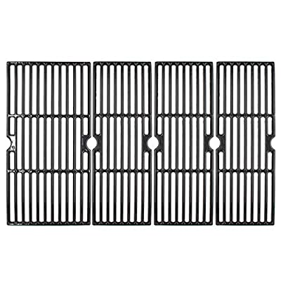 """Hongso 18 3/16"""" Porcelain Enamel Cast Iron Cooking Grates Replacement for Charbroil Performance 463275517 5 Burner, Performance 300 2-Burner, Cart Liquid Propane Grill, 4-Pack Grill Grids, PCZ084"""