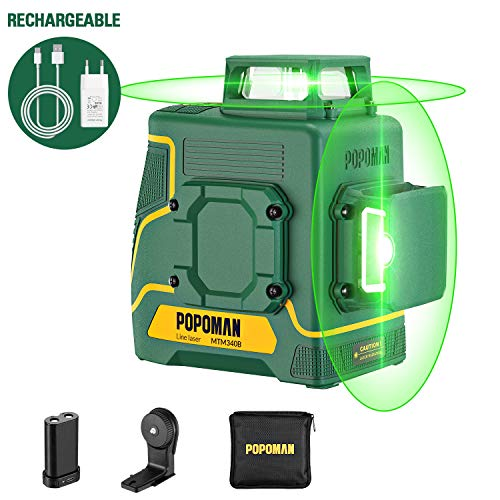 POPOMAN Laser Level Green 2x360° Line laser rechargeable with Lithium battery Self Leveling Pulsed mode Magnetic Auxiliary Supporting Bracket IP54 Carry bag Include  MTM340B