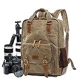 AHWZ Kamera Taschenlampen Camera Backpack Camera Bag Insert, Batik Waterproof Canvas Box Laptop Backpack,Khaki