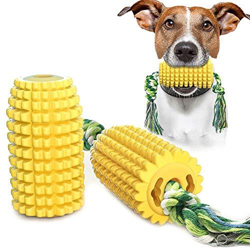HyiFMY 2pc maíz Perro Cepillo de Dientes Masticar Juguete, Palo Molar, Juguete de Perro de Cepillo de Dientes Resistente a la mordida con Cuerda, para Perros pequeños y medianos