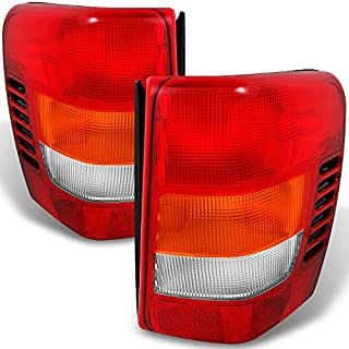 For Jeep Grand Cherokee Red Amber Tail Lights Brake Lamps Driver Left + Passenger Right Replacement Pair