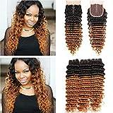 Tony Beauty Hair #1B/30 Medium Auburn Ombre Deep Wave Hair Bundles with Closure Deep Wavy Ombre Light Brown Brazilian Human Hair Weave Wefts 3 Bundles with Auburn Lace Closure 4x4 (16 18 20 with 14)
