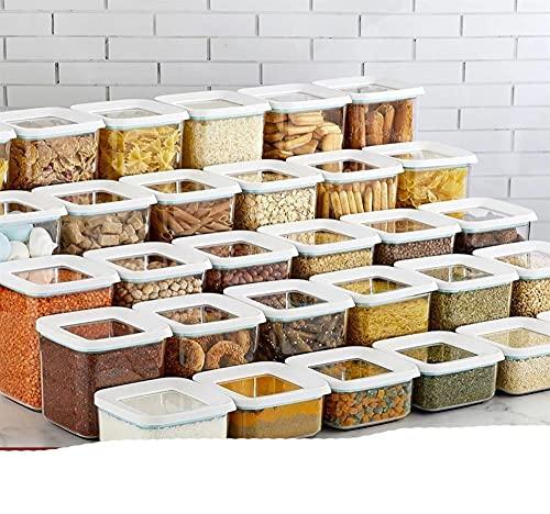 15-30 piezas Caja de almacenamiento de alta calidad Organizador de juegos de alimentos Botella de cocina y despensa Avena Especias Legumbres Espaguetis Arroz Cereales-15 piezas