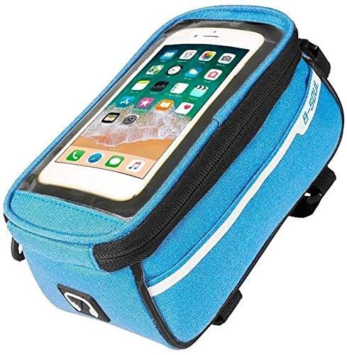 ZLYY Tubo Impermeable del Camino de MTB Delantera de la Bici Bolsa de 6 Pulgadas de Pantalla táctil del teléfono Bolsa de sillín for los entusiastas de los Deportes al Aire Libre (Color : Blue)