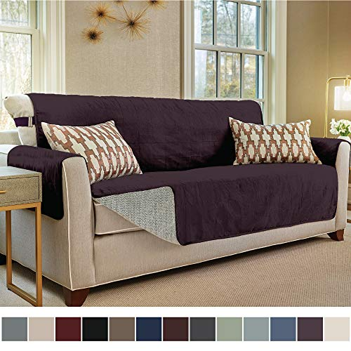 Gorilla Grip Original Slip Resistant Large Sofa Protector for Seat Width up to 70 Inch, Patent Pending Suede-Like Furniture Slipcover, 2 Inch Straps, Couch Slip Cover Throw for Dogs, Sofa, Dark Purple
