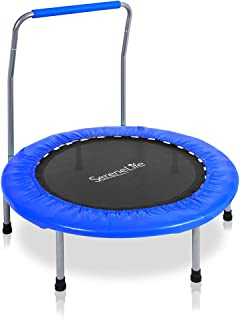 """SereneLife Highly Elastic Sports Trampoline - 36"""" Heavy Duty Jumping Mat w/Coil Spring 26"""" Dia Safe for Kids Padded Frame Cover and Handle Bar 24"""" High - Space Saver Foldable w/Kitbag - SLSPT369"""