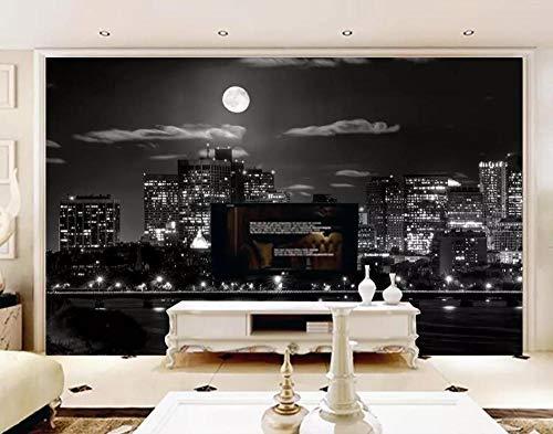 Murais personalizados papel de parede para sala de estar, quarto e TV fundo decoração de casa, lua brilhante, preto e branco, construção de cidade 150 cm x 105 cm