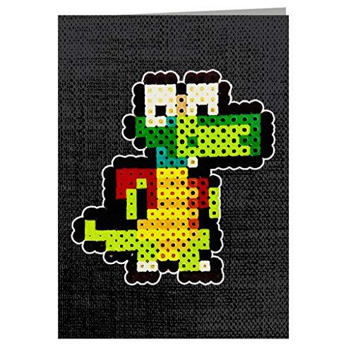 Croc 8bit Pixel Character Bead Greeting Card