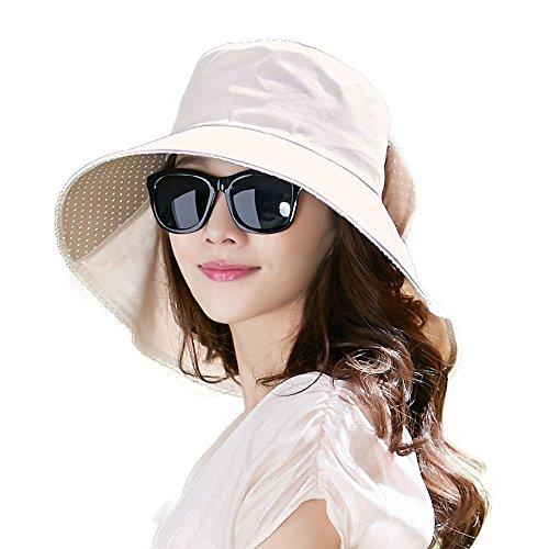 SIGGI Baumwolle Beiger Sonnenhut mit Nackenschnur Damen UPF 50 + Sonnen Shade Hut