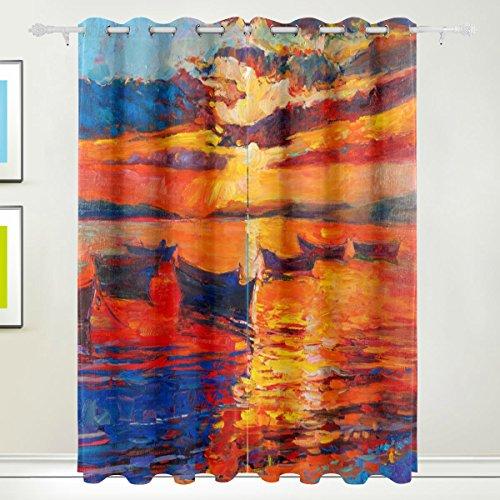 Rideau de fenêtre, Luxe 2 panneaux Peinture à l'huile Mer Coucher de soleil Paysage Impression Isolation thermique épais Super Doux Tissu de polyester Décoration de maison avec oeillet pour