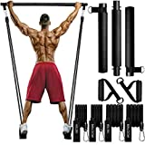 MALOOW Pilates Exercise Bar Kit with Resistance Bands(40lbs&60lbs),Portable Pilates Equipment for Men and Women Fitness,Pilates Stick and Tubes with Foot Strap & Handles for Full Body Workout
