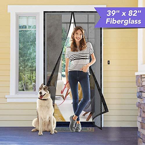 HOUSE DAY Puerta de pantalla magnética con cortina de malla de fibra de vidrio duradera y gancho y lazo de marco completo 100X210cm Pantalla de red de puerta con imán Mosquitera Puerta magnética Negro