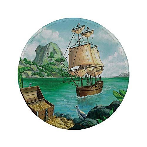 Rutschfreies Gummi-rundes Mauspad Pirat exotische Seeküste mit Truhe voller Gold Altes Schiff Tropic Nature Wealth Landscape mehrfarbig 7,87 'x 7,87' x 3 mm