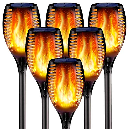 6PCs Solar Torch Lights Outdoor, 43 inch 96 LED, Waterproof Landscape Garden Pathway Light with Vivid Dancing Flickering Flames, with Auto On/Off Dusk to Dawn, for Christmas Lights Decoration