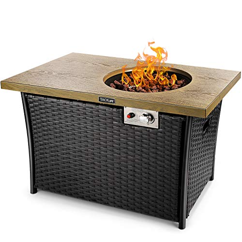 TACKLIFE Fire Table, 41 Inch 50,000 BTU, Auto-Ignition Propane Fire Pit with Stainless Steel Control Panel, Great Gas Fire Pit Table with Lid, ETL Certification, Suitable for Patio, Garden & Balcony