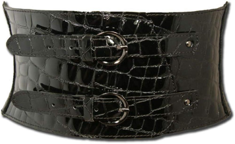 Women's New sales Crocodile Printed Mesa Mall Genuine Leather Wrap Obi Tie Cors Sash