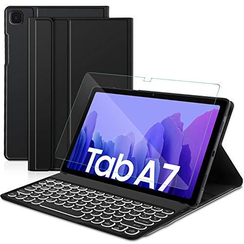 Sross-TEC Funda con Teclado para Samsung Galaxy Tab A7, Español Ñ Samsung Galaxy Tab A7 10.4 Pulgada 2020 SM-T500/T505 Teclado con Protector de Pantalla, Negro