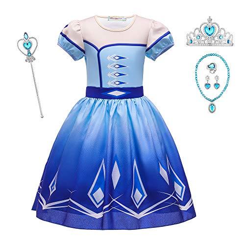 O.AMBW Vestido Corto Disfraz de Princesa Elsa Azul Celebracin Vestido Violeta Reina Anna Manga Corta Cosplay Carnaval Disfraz de Halloween con 5 Accesorios para nias