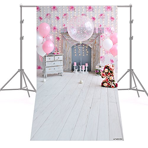 Andoer Fotografía Fondo Rosa 1.5 * 0.9 m/5 * 3 pies Fiesta de Cumpleaños Bombilla de Globo Chimenea de Flores Piso de Madera para Infantil Bebé Recién Nacido Foto de Fondo Estudio Pros