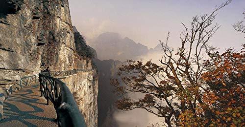 OAEC Puzzle 1500 Piezas Adultos De Madera Rompecabezas Camino del Tablón del Valle Fantasma, Montaña Tianmen, Zhangjiajie Jigsaw Puzzle Clásica Challenging Teen Casual Puzzle Educational Game 87X58Cm