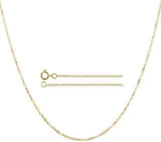 14K Solid Gold 0.85mm Diamond Cut Rolo Link Chain Necklace- Spring Ring -Multiple colors Available