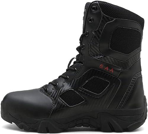 NDHSH Mens armée armée Bottes Haut Chaussures de randonnée Combats en Plein air Bottes Lacer Bottes de sécurité Camping Trekking Chaussures imperméables,noir-46