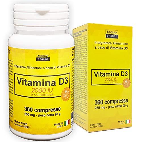 VITAMINA D3 ad alto dosaggio | vitamina d 2000 UI a compressa | 360 COMPRESSE, Fornitura 1 anno | VITAMINA D | FATTO IN ITALIA | Vitamina d | Integratori vitamina d | Formula one a day