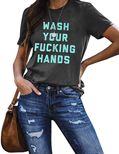 Blooming Jelly Womens Funny Graphic T Shirts Wash Your Hands Short Sleeve Crewneck Casual Top Tees(L,Grey)