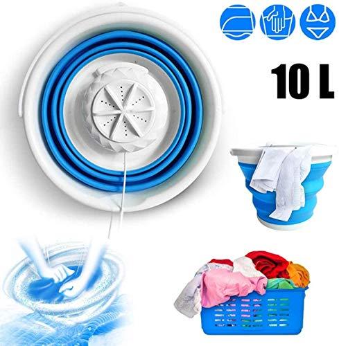 MORESAVE Tragbare Mini-Turbo-Waschmaschine Foldable Washing Machine Kompakte Ultraschall-Turbinenwaschanlage mit USB-Kabel, Praktisch für Geschäftsreisen nach Hause (Blue)