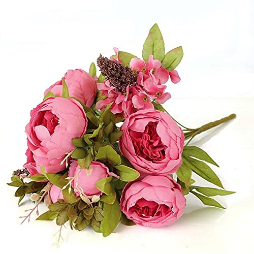 1 Manojo de Flores de peonía Artificiales Hoja Falsa Europea Flor de Seda Rosa Viva para el hogar Hotel decoración de la Boda Ramo-LD