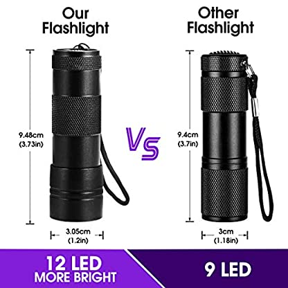 (2 Pack) UV Torch, Fulighture Pets Black Light 12LED 395nm, Dogs/Cats Urine Detector, Ultraviolet Flashlight Find Dry Stains on Carpets/Rugs/Floor with Batteries Included 3