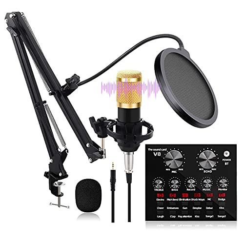 HCFSUK Kondensator Mikrofon Set, BM-800 Professional Mikrofon-Kit mit V8 Live-Soundkarte Boom Arm Shock Mount für Rundfunk, Aufnahme, YouTube, Podcast, Gaming