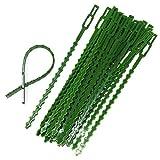 YUEMING 60 Stück Verstellbare Pflanzenbinder, 17cm Flexible Garten Pflanzen Anbinder, Kunststoff Gartenbinder Schnellbinder Pflanzenclips für Pflanzenunterstützung, Grün