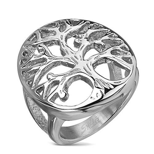 BlackAmazement 316L Edelstahl Ring Wide Cast Lebensbaum Tree of Life Silber Herren Damen (52 (16.6))