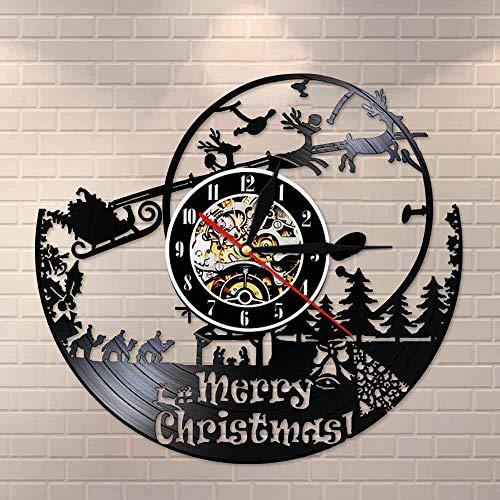 BFMBCHDJ Frohe Weihnachten Weihnachtsmann Vinyl Schallplatte Wanduhr Sankt Nikolaus Geschenk Weihnachtsmann Wanddekor Elf Vintage Uhr Wanduhr