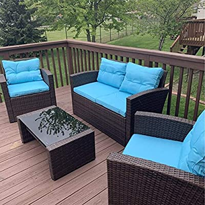 RICHSEAT 4 Piece Outdoor Patio Furniture Conversation Sets All Weather PE Rattan Wicker Sectional Sofa Loveseat Chair Seating Group with Cushions and Table - Blue