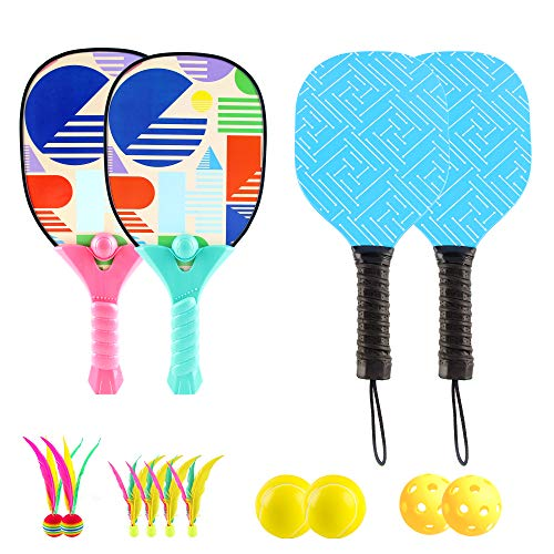 Pickleball, Beach Paddle Ball Game Kits for Kids and Adults–Portable and Compact, Set of 2 Racket Paddles and 2 Beachballs