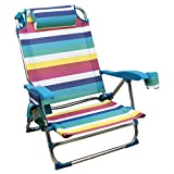 Rainbow Beach Chair, Sedia Pieghevole per Spiaggia, Giardino, Campeggio (1 unità, Strisce multicolori)
