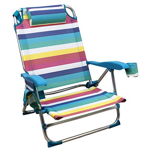 Silla Playera, 5 Posiciones ,Silla Plegable para Playa, Jadín, Camping , Multicolor (1 Unidad, Rayas Multicolor)