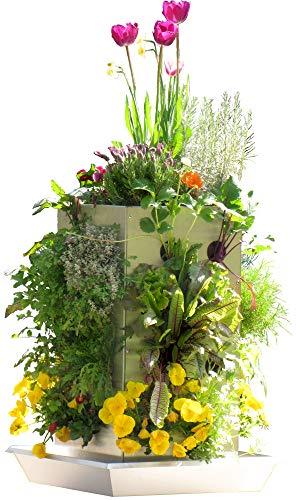 KUBI TTG Mini Edelstahl Pflanzgefäß für Balkon mit Komposter, Wasserspeicher und Schneckenkante für bis zu 30 Pflanzen B-Ware