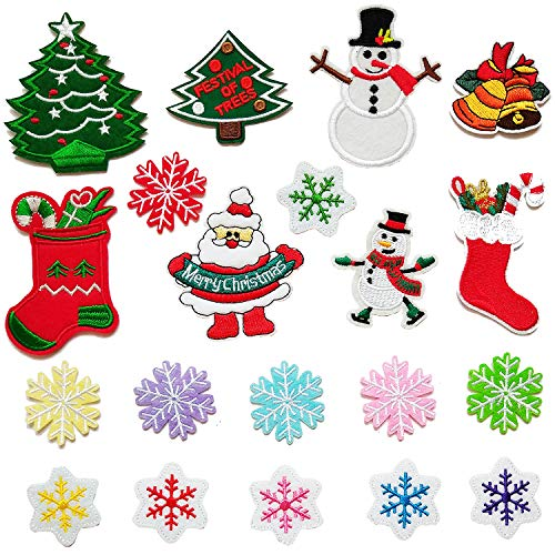 Czorange 20 Pieces Christmas Iron-on Patch for Clothing, Snowflake Snowman Christmas Tree Embroidery Applique Patches for Arts Crafts DIY Decor, Jeans, Jackets, Clothing, Bags