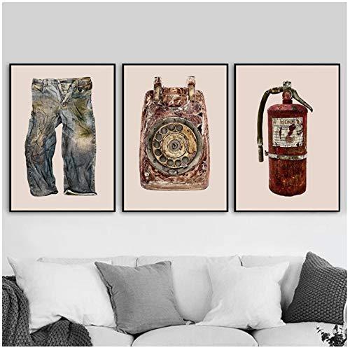 RuiChuangKeJi muurkunst op canvas jeans Squallidi telefoon trommel petrol schoenen radio Nordic poster afbeeldingen muur decor 3x50x70cm zonder lijst