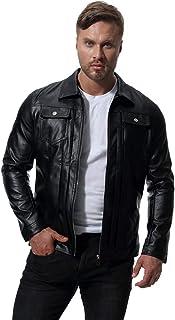 MISSMAO Mens Vintage Washed PU Leather Zip Up Biker Leather Jacket
