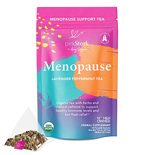 Pink Stork Menopause Relief Tea: Lavender Peppermint Green Tea, 100% Organic, Perimenopause and Hot Flash Relief, Dong Quai, Black Cohosh, Hormones, Hot Flashes, + Weight Loss, Women-Owned, 30 Cups