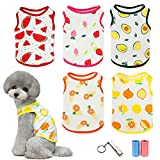Camisas para Perros Mascota papá mamá Camiseta con Estampado de Frutas Linda Sudadera Transpirable para Cachorros Chaleco Suave de Verano Moda Ropa de Playa, para Perros Pequeños y Gatos, 5 Piezas