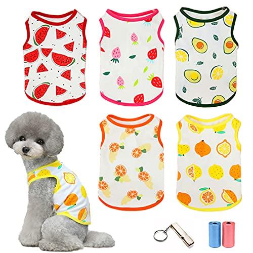 Camicie per Cani Maglietta Animali Mamma T-Shirt Frutta stampata Simpatica felpa Traspirante per Cuccioli Estate Gilet Morbido Abbigliamento da Spiaggia per Cani e Gatti di Piccola Taglia, 5 Pezzi