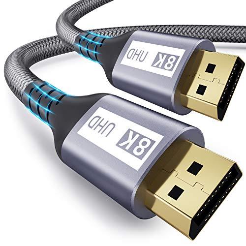 8K DisplayPort 1.4 Kabel 3M,Yurnero 240/144Hz DP Kabel(Übertragungsrate 32,4Gbit/s),Unterstützt 8K@60Hz;4K@144Hz;2K@240Hz;3D;DP zu DP Kabel für Gamer/Laptop PC/TV