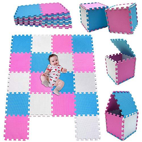 MSHEN 18 Stück Puzzlematte | Kälteschutz,abwaschbar Kinderspielteppich Matte | puzzlematte Baby | Trainingsmatte.Größe 1,62 Quadrat.Weiß-Pink-Blau-010307g18